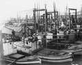 Wrangell Narrows, Alaska. Petersburg small boat harbor at 2-00 p.m. looking west along City Float on - NARA - 298793.tif