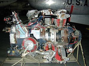 Wright R-3350 Duplex-Cyclone - Wright R-3350 Turbo-Compound radial engine. Two exhaust recovery turbines shown outside impellor casing area (top (silver) and lower (red blading)) that are geared to the crankshaft.