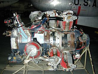 Wright R-3350 Duplex-Cyclone - Wright R-3350 Turbo-Compound radial engine. Two exhaust recovery turbines shown outside impeller casing area (top (silver) and lower (red blading)) that are geared to the crankshaft.