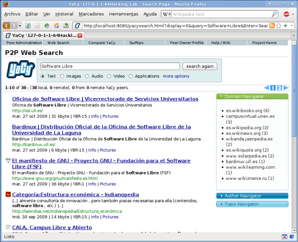 "Search results for the query ""software libre"", using YaCy a free distributed search engine that runs on a peer-to-peer network instead making requests to centralized index servers (like Google, Yahoo, and other corporate search engines) Yacy-resultados.png"