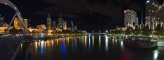 Panorama of Melbourne's Yarra River at night