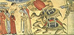 Young Muhammad meets the monk Bahira - from Jami' al-Tawarikh.jpg