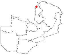 Location of Nchelenge in Zambia