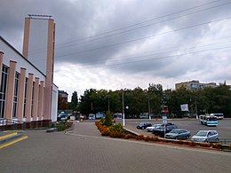 Zhytomyr Railway station and trolleybus.jpg