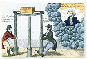 First Party System - Federalist poster about 1800. Washington (in heaven) tells partisans to keep the pillars of Federalism, Republicanism and Democracy