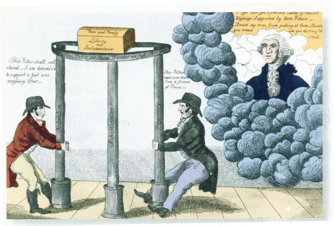 Federalist poster about 1800. Washington (in heaven) tells partisans to keep the pillars of Federalism, Republicanism, and Democracy ~party3.JPG