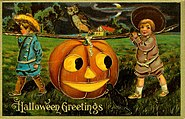 """Halloween Greetings."" (Two boys carrying a large Jack-O-Lantern)"