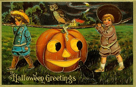 """""""Halloween Greetings."""" (Two boys carrying a large Jack-O-Lantern)"""