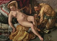 'Jupiter and Antiope', oil on canvas painting by Hendrick Goltzius.Jpg