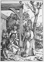 'Life of the Virgin, Christ Taking Leave of his Mother', woodcut by Albrecht Dürer, c. 1504, Honolulu Academy of Arts.jpg