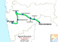 (Pune - Nizamabad) Passenger train route map.png