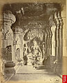 *View of Durga image at south end of verandah of the Indra Sabha rock-cut temple, Ellora.jpg