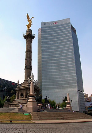 Colonia Cuauhtémoc, Mexico City - HSBC Tower and Angel de la Independencia