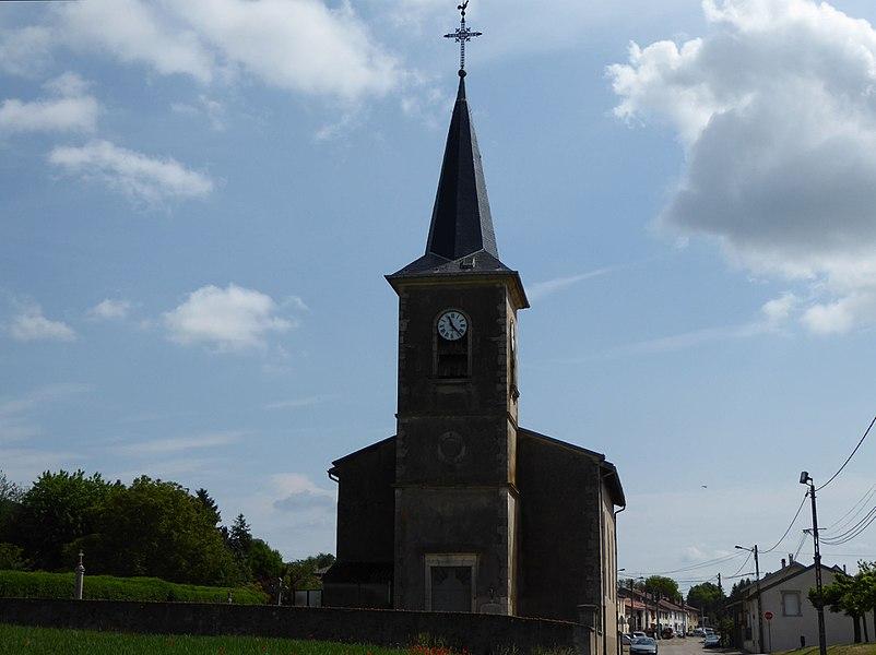 Face ouest de l'église de Montenoy en Meurthe-et-Moselle (France).