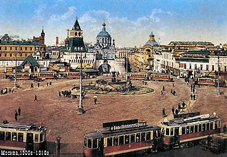 Fountains in Moscow - The Nikolayevsky Fountain on Lubyanka Square (about 1910). Built in 1835, the fountain was replaced by a statue of KGB founder Felix Dzherzhinsky in Soviet times