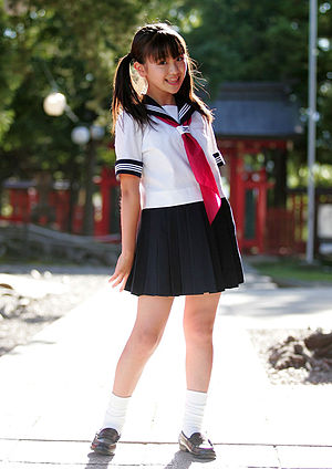 Japanese school uniform - Japanese junior schoolgirl in sailor suit