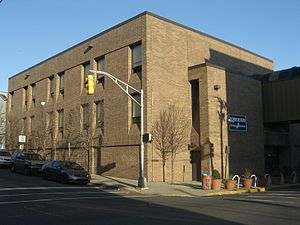 Emerson High School (Union City, New Jersey) - The gym building, connected to the main building via a second floor bridge that runs over New York Avenue