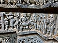 13th century Keshava Hindu temple relief with musical sursira ghana avanaddha (vadya), Somanathpur India.jpg
