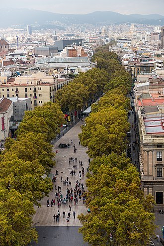 La Rambla, Barcelona - View over the Rambla from the Christopher Columbus monument, with the quarters of El Raval to the left and Barri Gòtic to the right