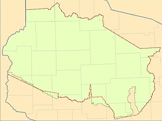 Treaty of St. Peters - The Wisconsin portion of the treaty area showing the treaty boundary (in red) and the adjusted boundary (in green)