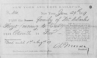 Charles Moran (railroad executive) - Free Pass by Moran, 1859