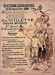 1889 French election poster for antisemitic candidate Adolphe Willette