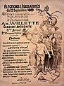 1889 French election poster for antisemitic candidate Adolphe Willette.jpg