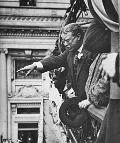 1914 - Theodore Roosevelt on balcony of Hotel Allen