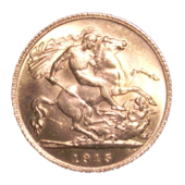 A gold coin dated 1915 with the design being St George and the Dragon