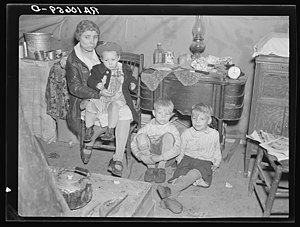 Ohio River flood of 1937 - Members of a refugee family left homeless by the flood in Shawneetown, Illinois