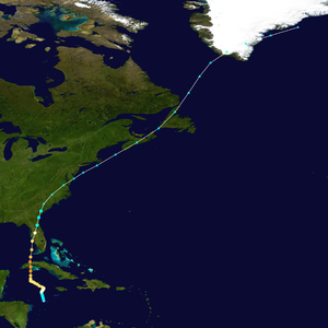 The hurricane took a generally south-to-north path, beginning in the Caribbean Sea and crossing Cuba and Florida, with the extratropical stage of the cyclone's track extending to Greenland.