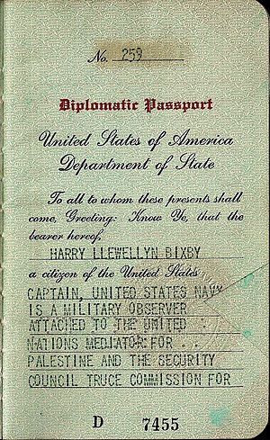 United Nations Truce Supervision Organization - 1949 United Nations mediator issued US diplomatic passport. Holder was a navy captain, military observer attached to the security council truce commission for Palestine.