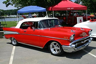 Dagmar bumpers - 1957 Chevrolet with rubber-tipped Dagmars