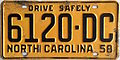 1958 North Carolina license plate.JPG