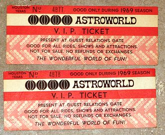Six Flags AstroWorld - 1969 Astroworld VIP Tickets