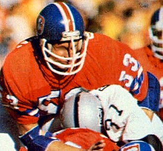 Randy Gradishar - Gradishar (53) playing for the Broncos in 1977 AFC Championship Game.