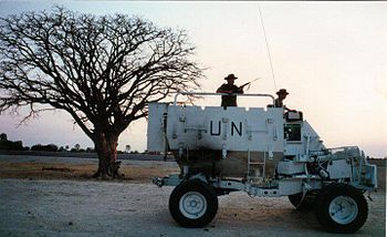 Photograph of field engineers from 14th Field Troop on patrol in Owamboland in a Buffel mine-protected vehicle