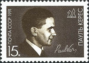 History of chess - Stamp of the USSR devoted to the accomplished Estonian player and analyst Paul Keres, 1991