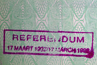 South African apartheid referendum, 1992 - Stamp in identity document of a white South African recording their participation in the 1992 apartheid referendum