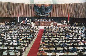 May 1998 riots of Indonesia - The Golkar-dominated People's Consultative Assembly elected Suharto to seven consecutive five-year terms in office as President between 1968 and 1998.