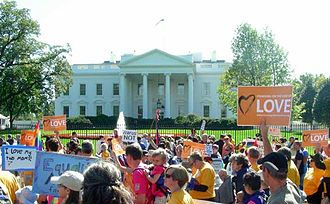 National Equality March - Marchers in front of the White House.