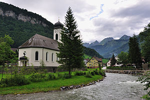 Toggenburg - View of the Thur and the church of Stein, facing north, with the Churfirsten visible in the backdrop.