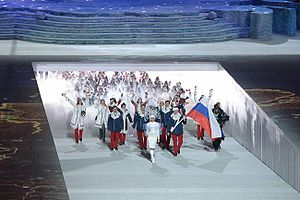 Russia at the 2014 Winter Olympics - Russian team entering the stadium during the opening ceremony