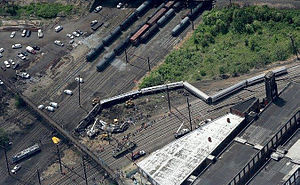 2015 Philadelphia train derailment - Aerial view of the derailed train