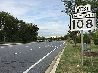 Maryland Route 108 - MD 108 westbound past MD 175 in Columbia