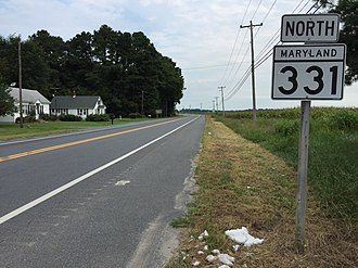Maryland Route 331 - View north along MD 331 at MD 16 near Petersburg