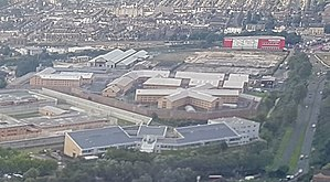 HM Prison Thameside - Aerial view of HM Prison Thameside. To the left a section of HM Prison Belmarsh