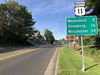 Edinburg, Virginia - View north along US 11, the primary road through Edinburg