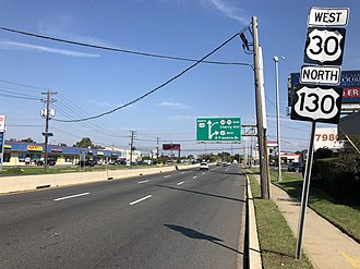 Pennsauken Township, New Jersey - Westbound U.S. Route 30 and northbound U.S. Route 130 in Pennsauken