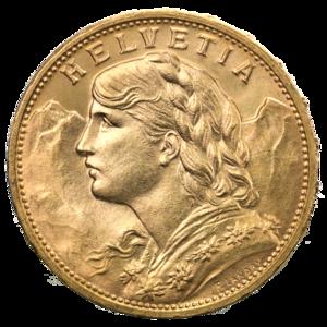 Vreneli - Image: 20 Schweizer Franken Goldvreneli